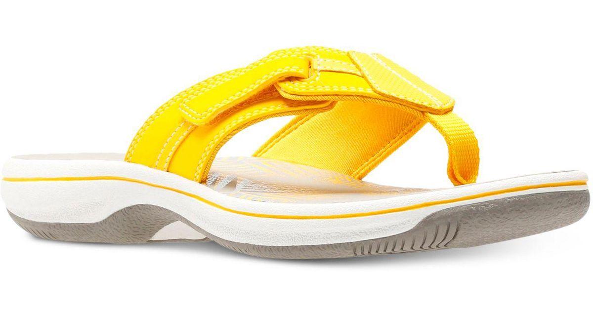 Lyst Clarks Women S Brinkley Bree Flip Flops In Yellow