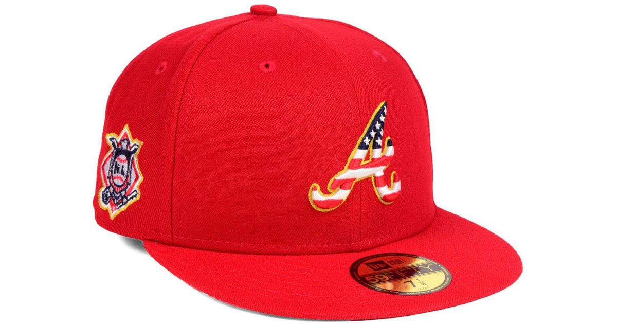 ... ireland lyst ktz atlanta braves stars and stripes 59fifty fitted cap in  red for men 2df5c ... 82d59e7371a6