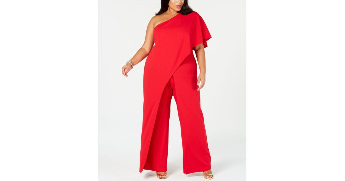 13468784c00f15 Adrianna Papell Flutter One Shoulder Jumpsuit in Red - Save 4% - Lyst