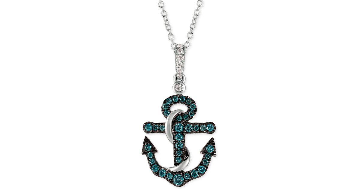 Lyst le vian diamond anchor pendant necklace 14 ct tw in 14k lyst le vian diamond anchor pendant necklace 14 ct tw in 14k white gold in metallic aloadofball Gallery
