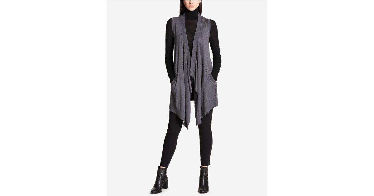 b1c2b17dba Lyst - DKNY Long Waterfall Sweater Vest in Gray