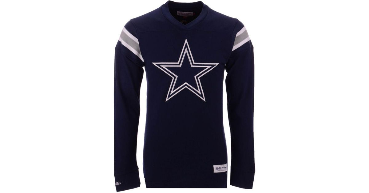 d39a6de8d Lyst - Mitchell   Ness Dallas Cowboys Team Captain V-neck Long Sleeve T- shirt in Blue for Men