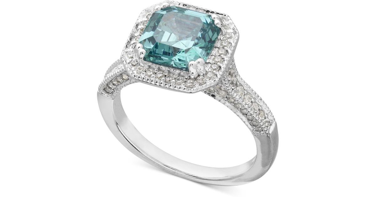 7b52d4156b67 Lyst - Arabella Sterling Silver Mint And White Swarovski Zirconia Ring  (5-1 4 Ct. T.w.) in Blue