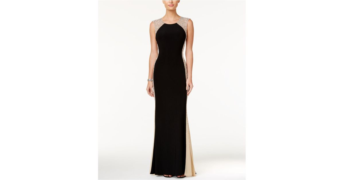 50d1d6fb Xscape Petite Beaded Illusion Gown in Black - Lyst
