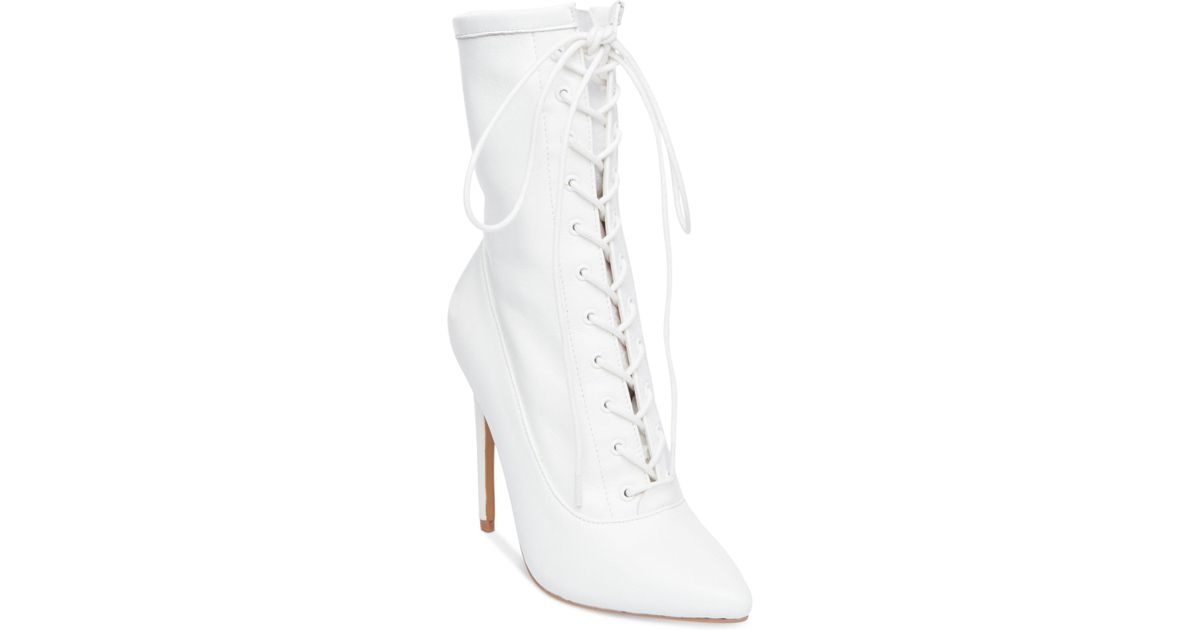 b3a8e04b92a Lyst - Steve Madden Women s Satisfied Lace-up Stiletto Booties in White