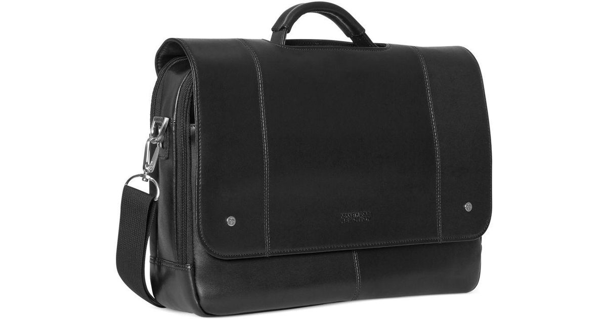 Kenneth Cole Reaction Leather Flapover Laptop Messenger