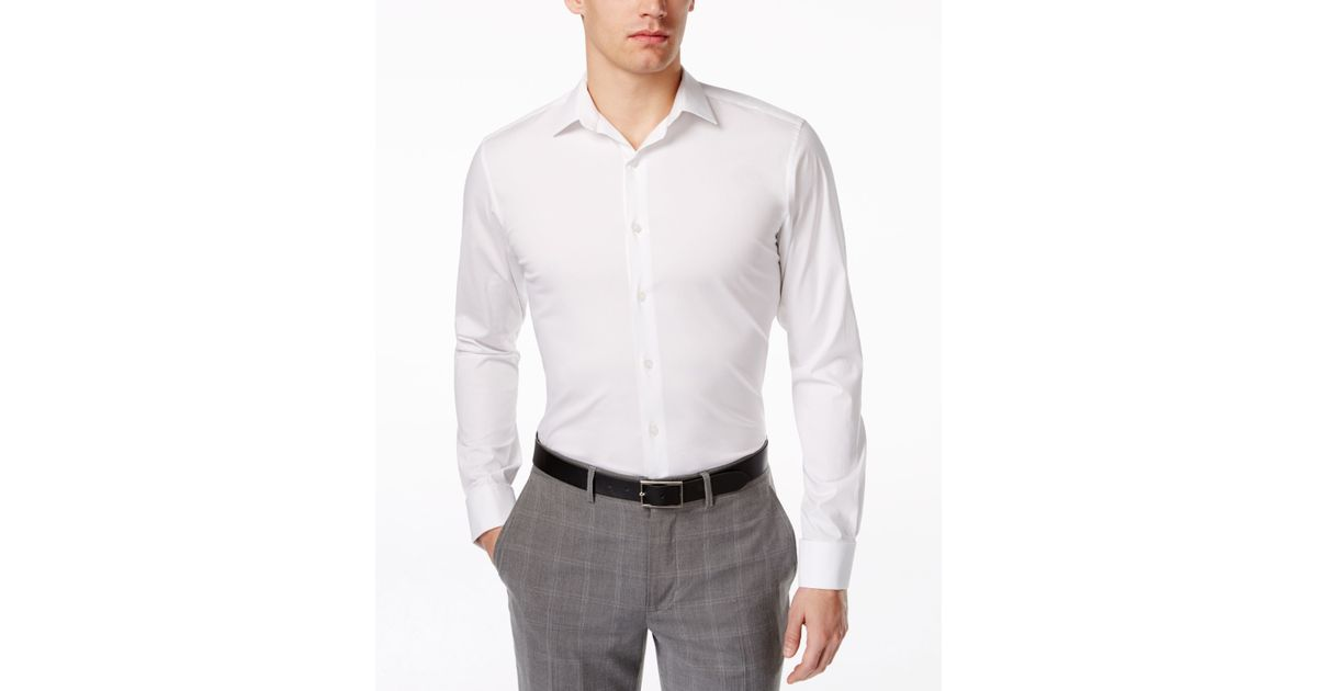 Alfani spectrum slim fit french cuff shirt in white for White french cuff shirt slim fit