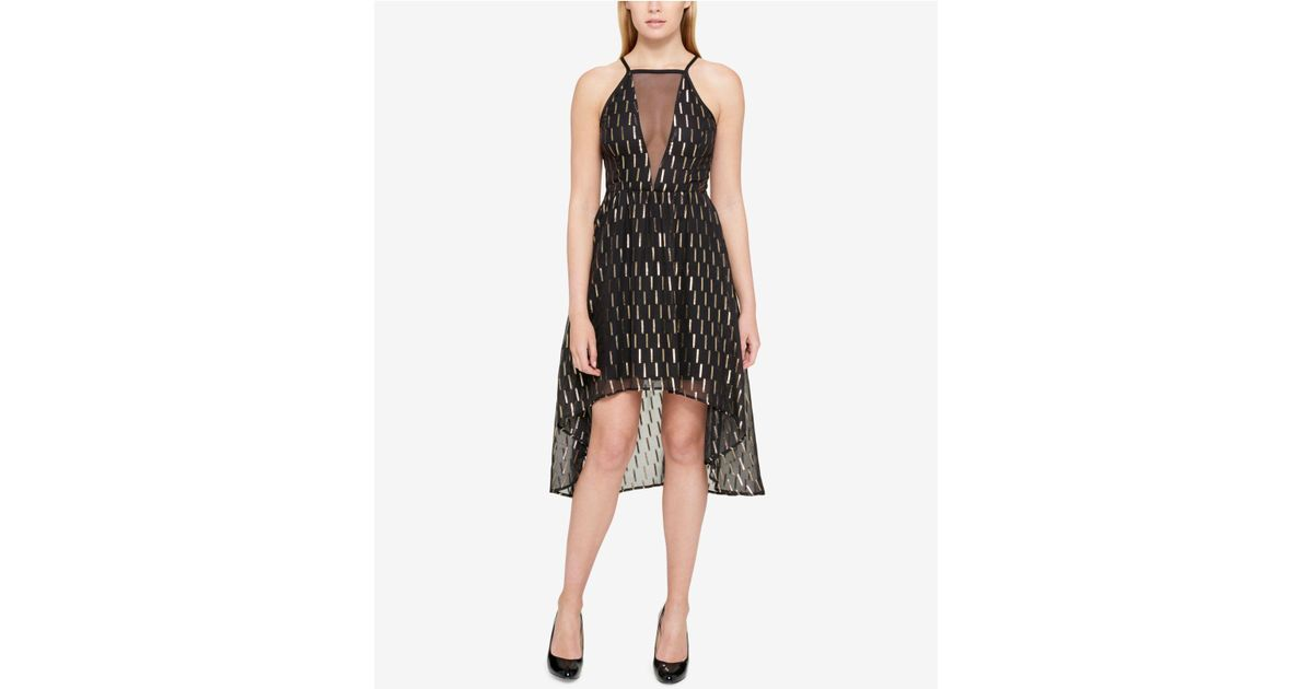 Lyst Guess Metallic Mesh High Low Dress In Black