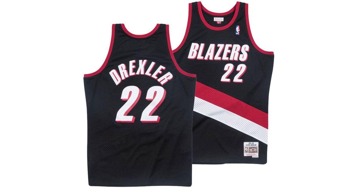 07c713661 Lyst - Mitchell   Ness Clyde Drexler Portland Trail Blazers Hardwood  Classic Swingman Jersey in Black for Men