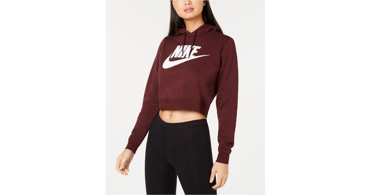 202d516f Nike Sportswear Rally Logo Cropped Fleece Hoodie - Lyst