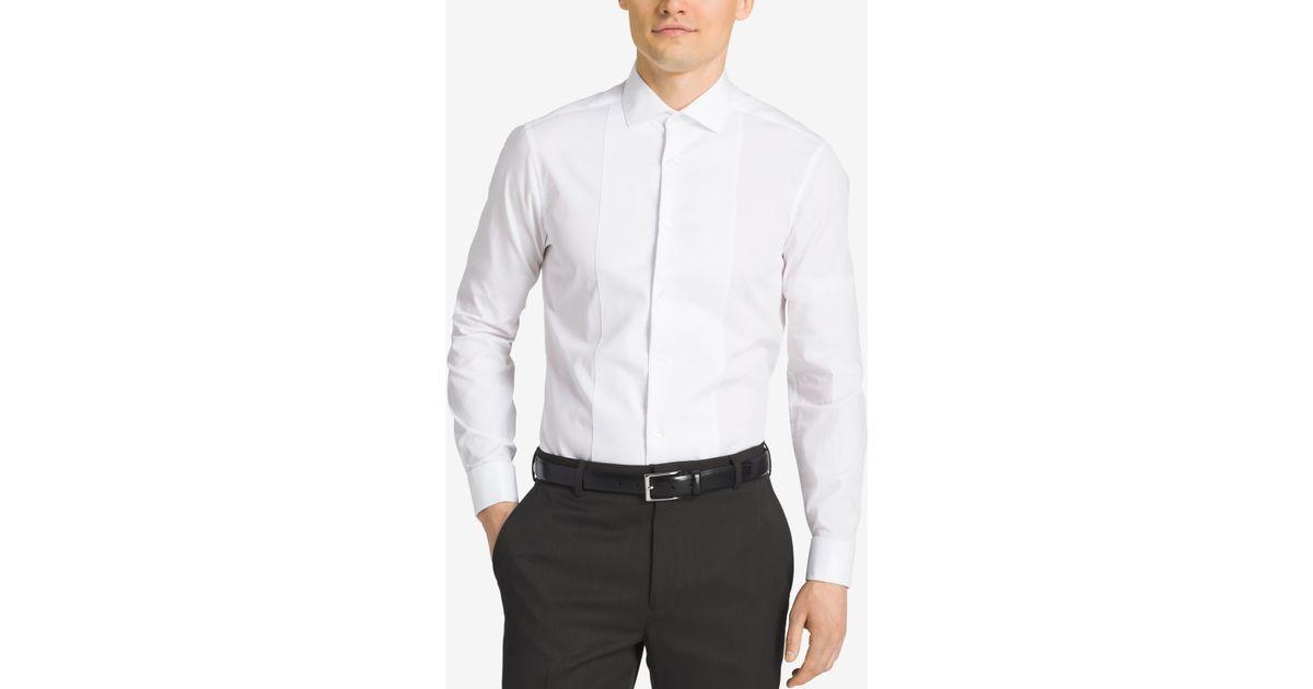 Calvin klein steel men 39 s slim fit french cuff tuxedo shirt for Extra slim tuxedo shirt