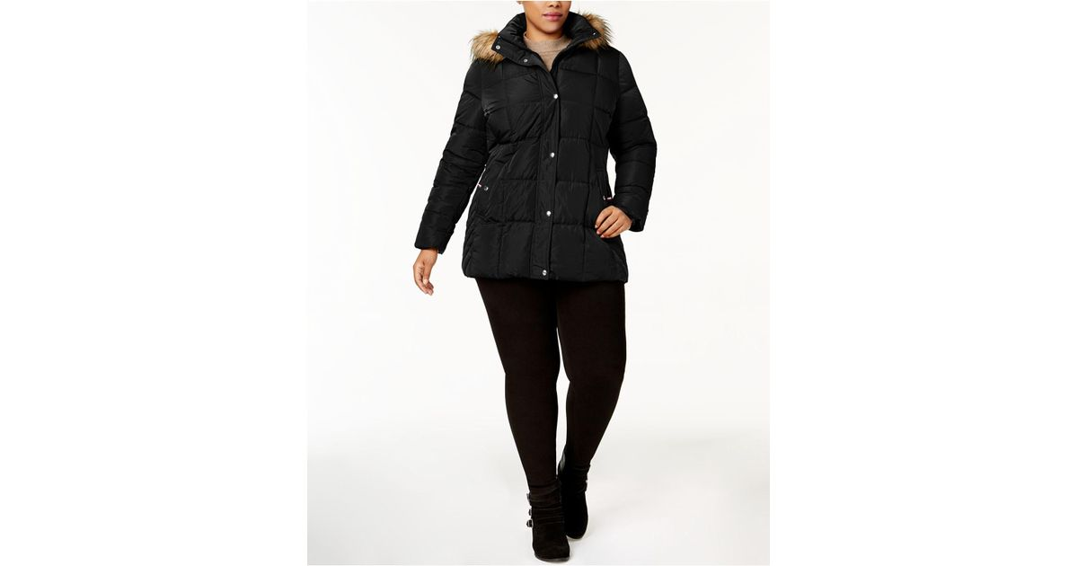 4b7d595ed8f Lyst - Tommy Hilfiger Plus Size Faux-fur-trimmed Hooded Puffer Coat in Black