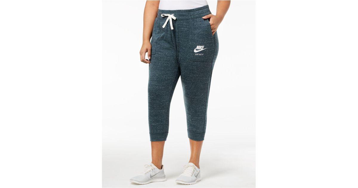 3677822ad701d Lyst - Nike Plus Size Gym Vintage Capri Pants in Blue