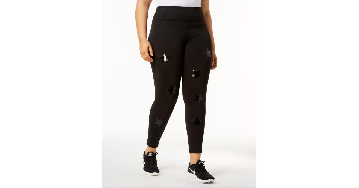 b43bfb6893c6d Lyst - Calvin Klein Performance Plus Size Shiny Star-print Active Leggings  in Black