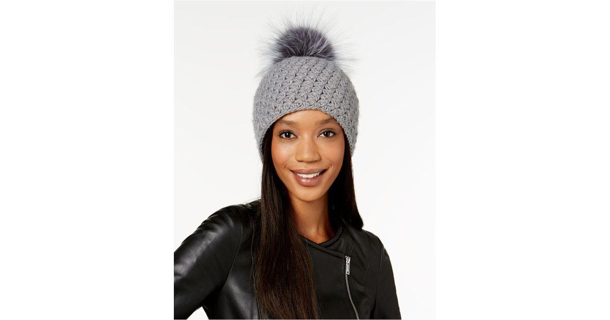 076a75b5c6b Lyst - Surell Acrylic Star Stitched Knit Fox Fur Pom Hat in Blue