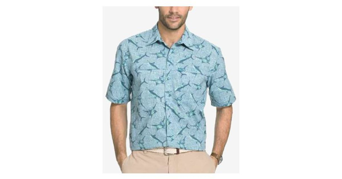 G h bass co men 39 s shark print short sleeve shirt in for Outer space clothing