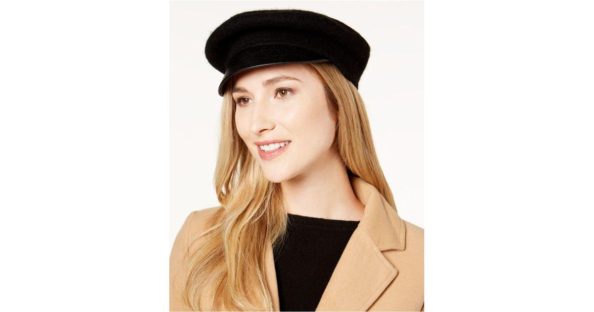 747cafae006f3 Nine West Wool   Faux-leather Newsboy Hat in Black - Lyst