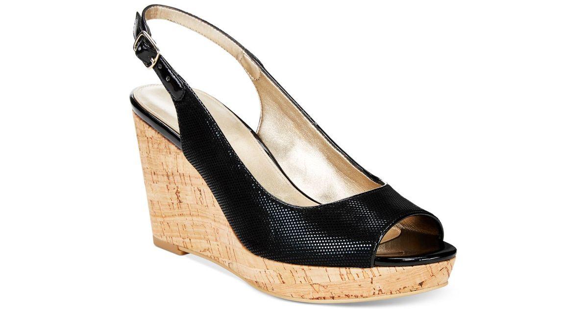 0ec22948683297 Lyst - Bandolino Avito Slingback Platform Wedge Sandals in Black