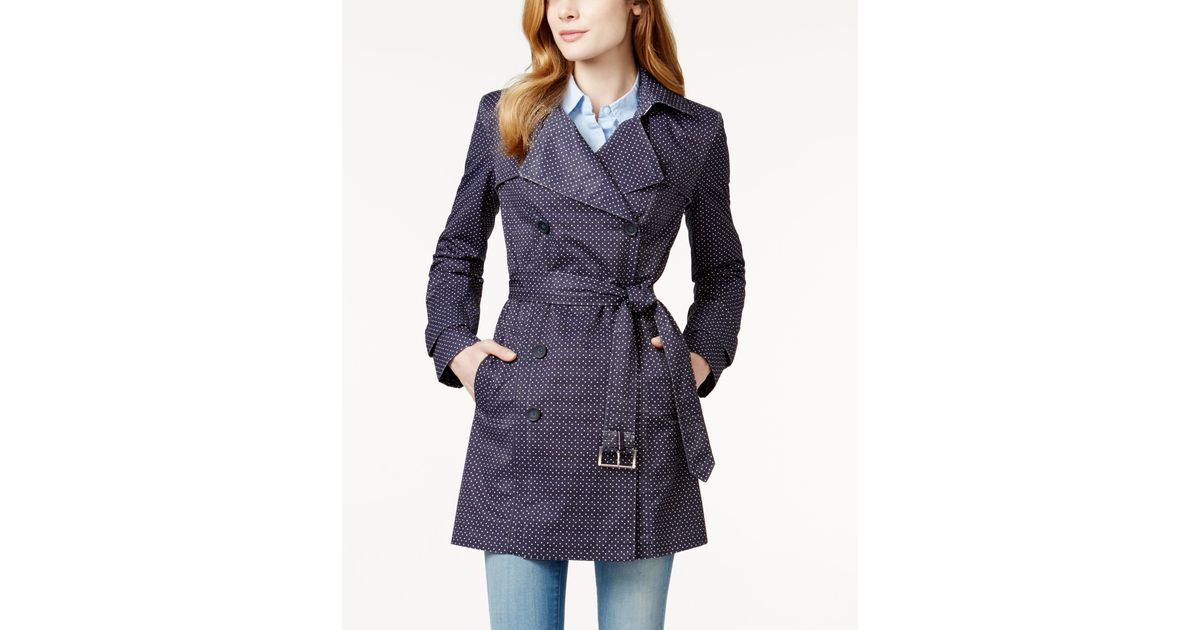 tommy hilfiger dot print double breasted trench coat in. Black Bedroom Furniture Sets. Home Design Ideas