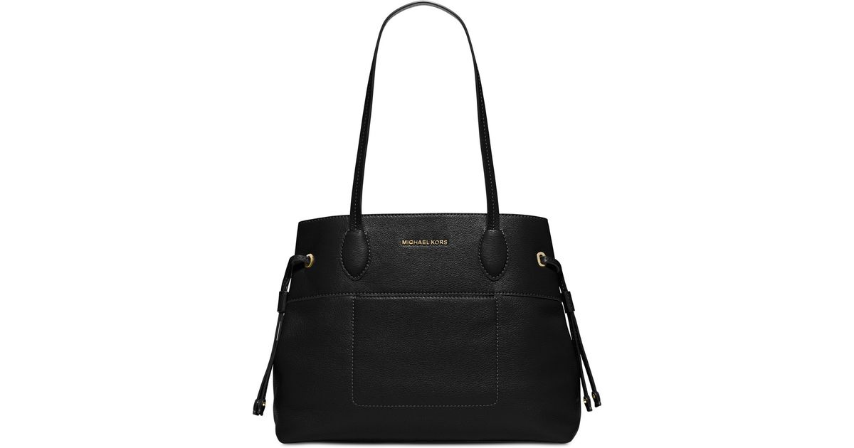 af5c0ebb7fe4 Lyst - Michael Kors Michael Mae Large East West Drawstring Tote in Black