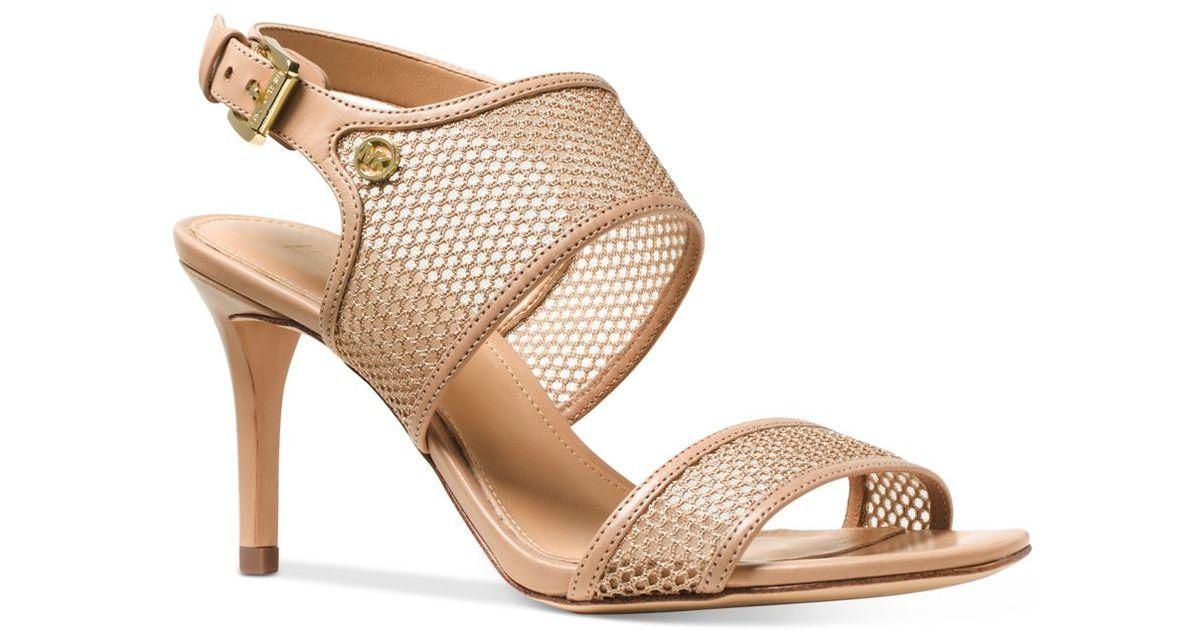 a5bec2aa7e4e Lyst - Michael Kors Michael Leilah Mesh Dress Sandals in Natural