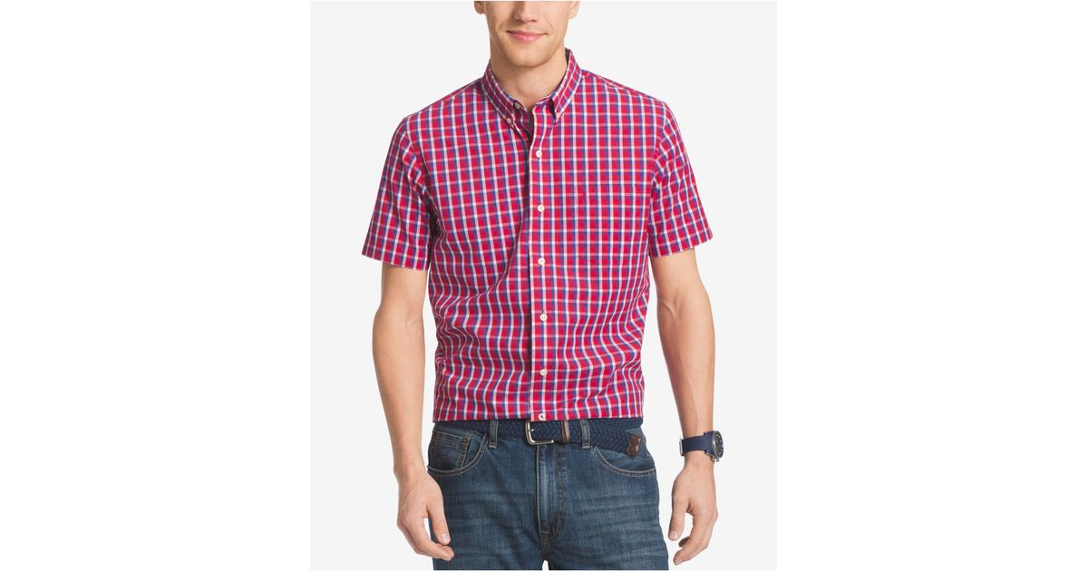Izod men 39 s big tall grid non iron short sleeve shirt in for Izod big and tall shirts