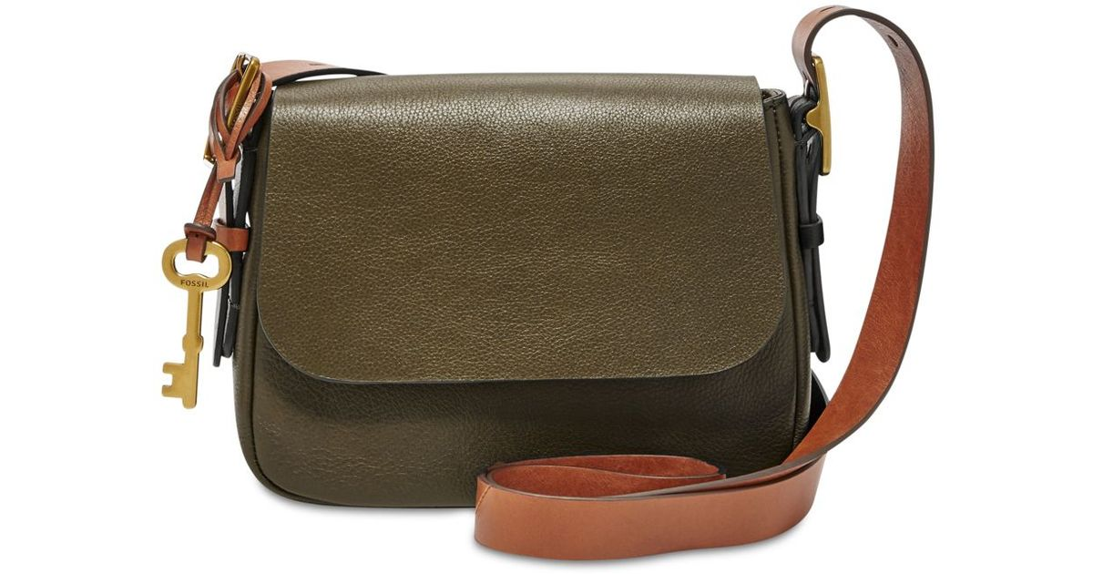 283016e74cf2 Lyst - Fossil Harper Leather Small Saddle Crossbody in Green