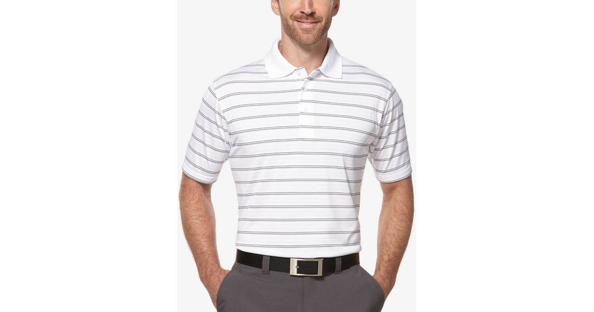 pga tour men u0026 39 s airflux striped performance polo in gray