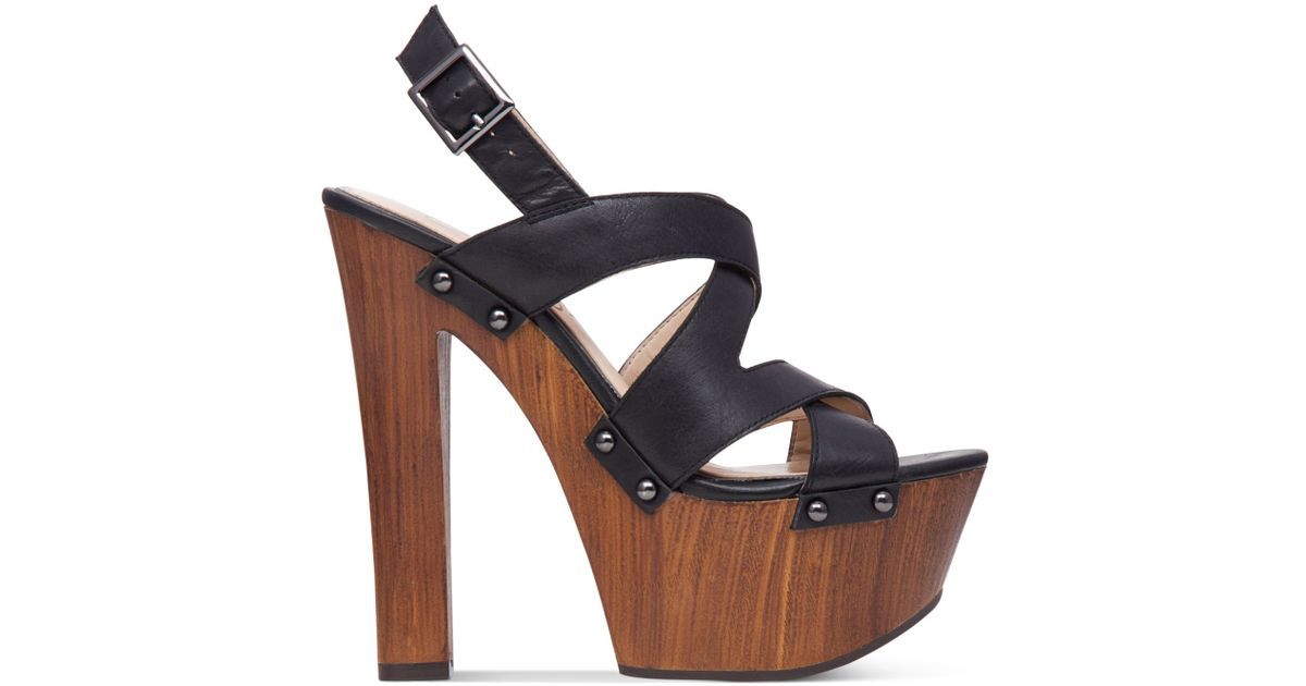 Jessica Simpson Damelo Strappy Wood Heel Platform Sandals