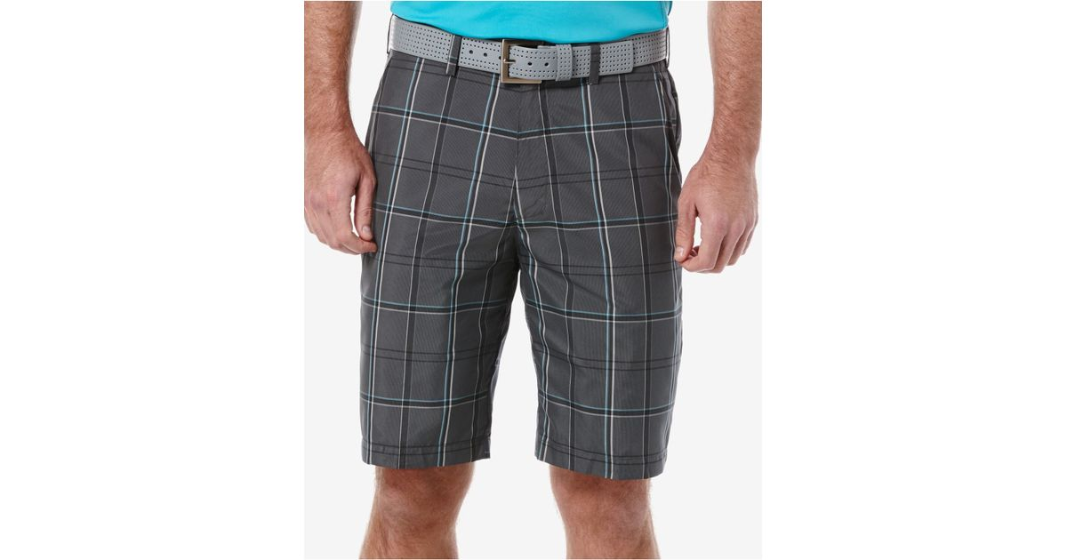 pga tour men u0026 39 s plaid golf shorts in gray for men