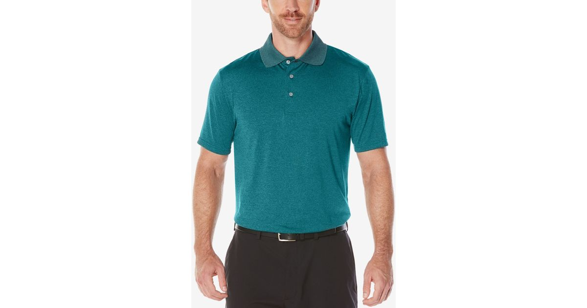 pga tour men u0026 39 s heathered golf polo shirt in green for men