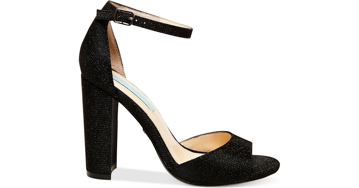 Betsey Johnson Carly Block Heel Sandals In Black Lyst