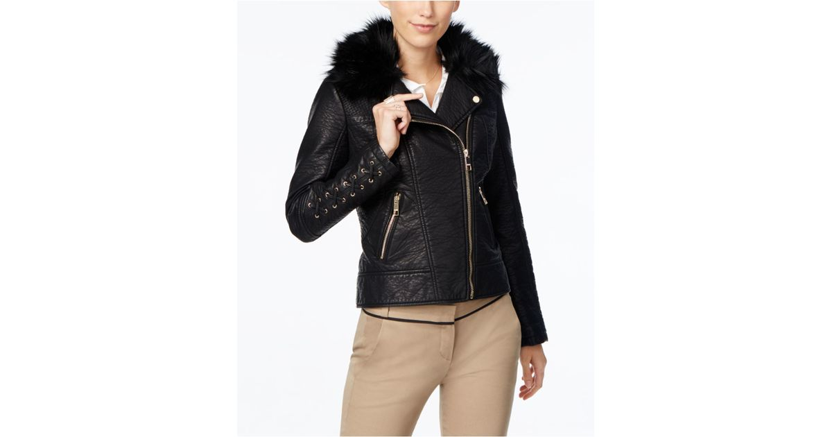 Lyst - Guess Faux-fur-collar Faux-leather Moto Jacket in Black