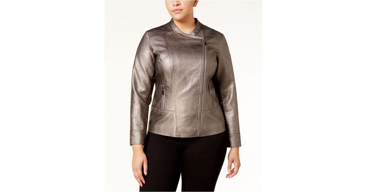 04d7700b95085 Lyst - Alfani Plus Size Metallic Moto Jacket in Brown