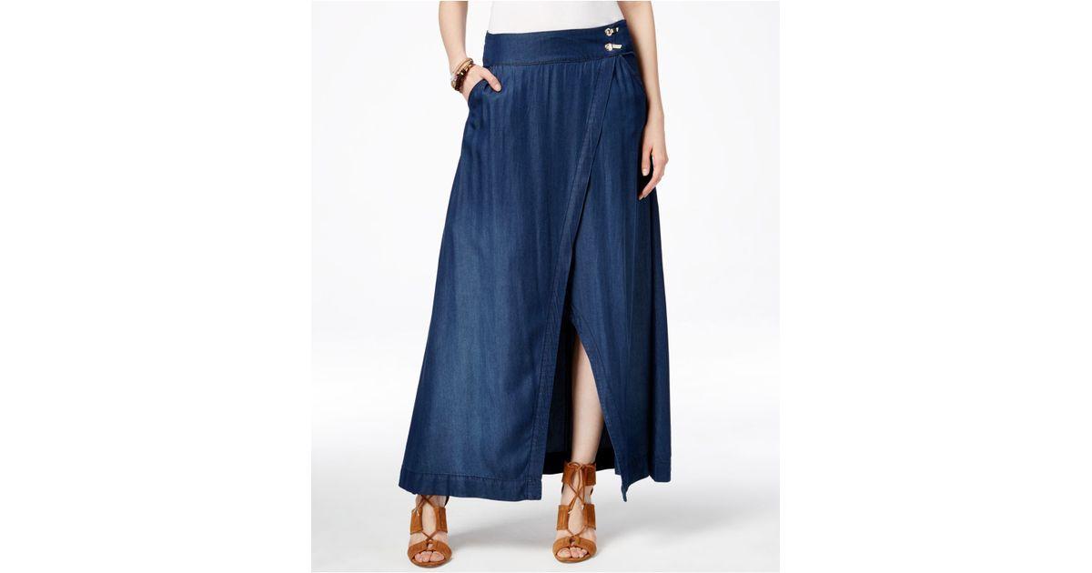 inc international concepts faux wrap denim maxi skirt