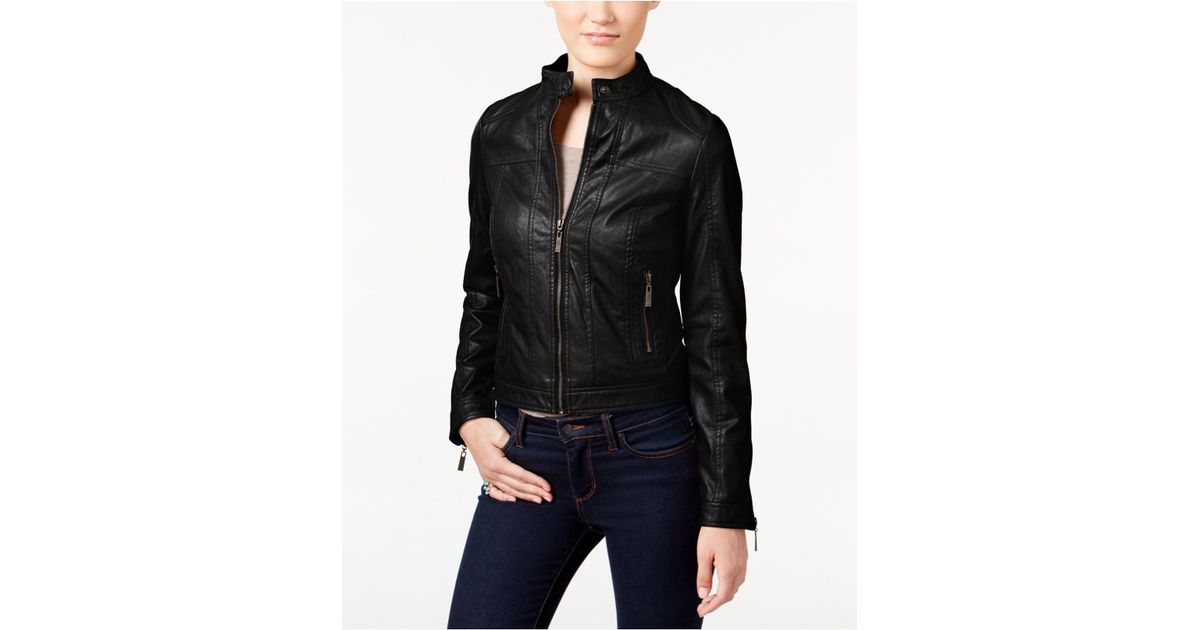 Jou jou Juniors' Zipper-front Faux-leather Jacket in Black | Lyst