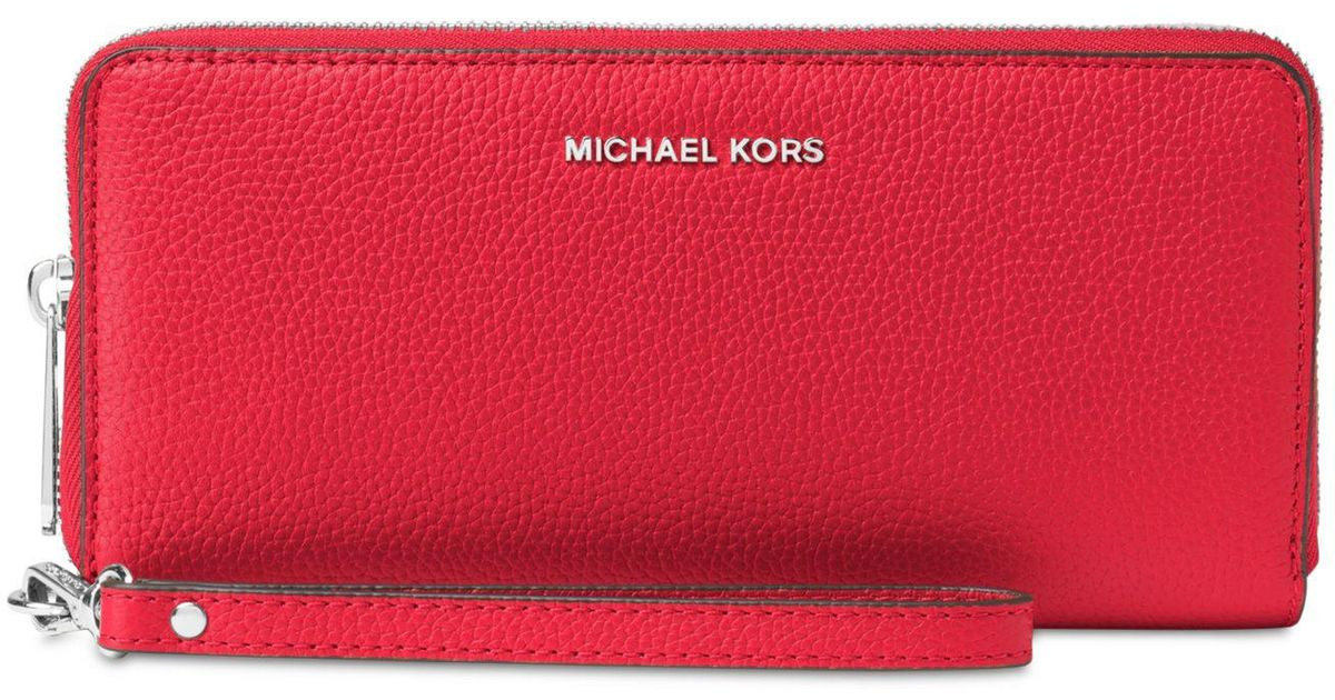 039f0a1a9321 Lyst - Michael Kors Mercer Travel Continental Wristlet in Red