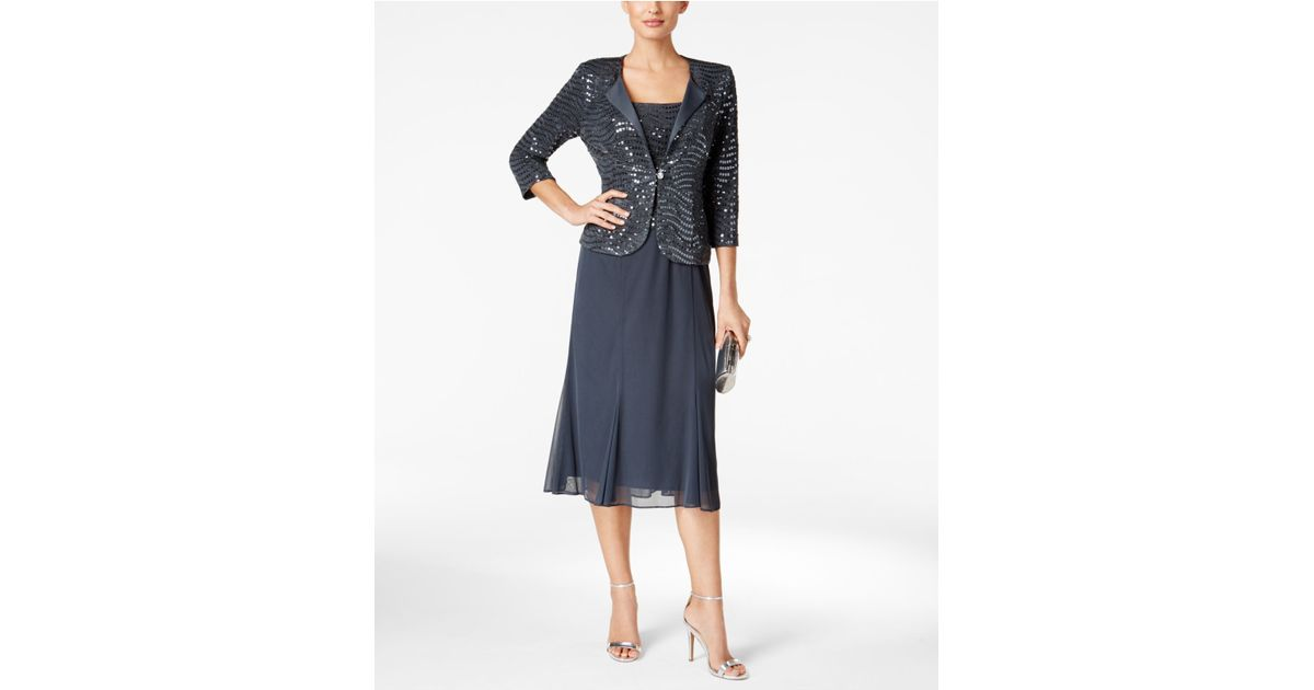 Alex Evenings Sequined Chiffon Midi Dress And Jacket In