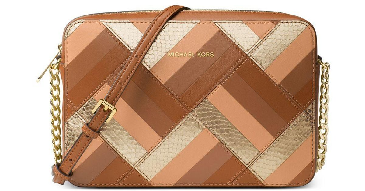 aa069e0adb0f Michael Kors Jet Set Travel Large East West Leather Cross-Body Bag in Brown  - Lyst