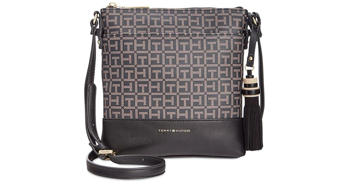 63e83f73b3e Lyst - Tommy Hilfiger Grace North South Coated Crossbody in Black
