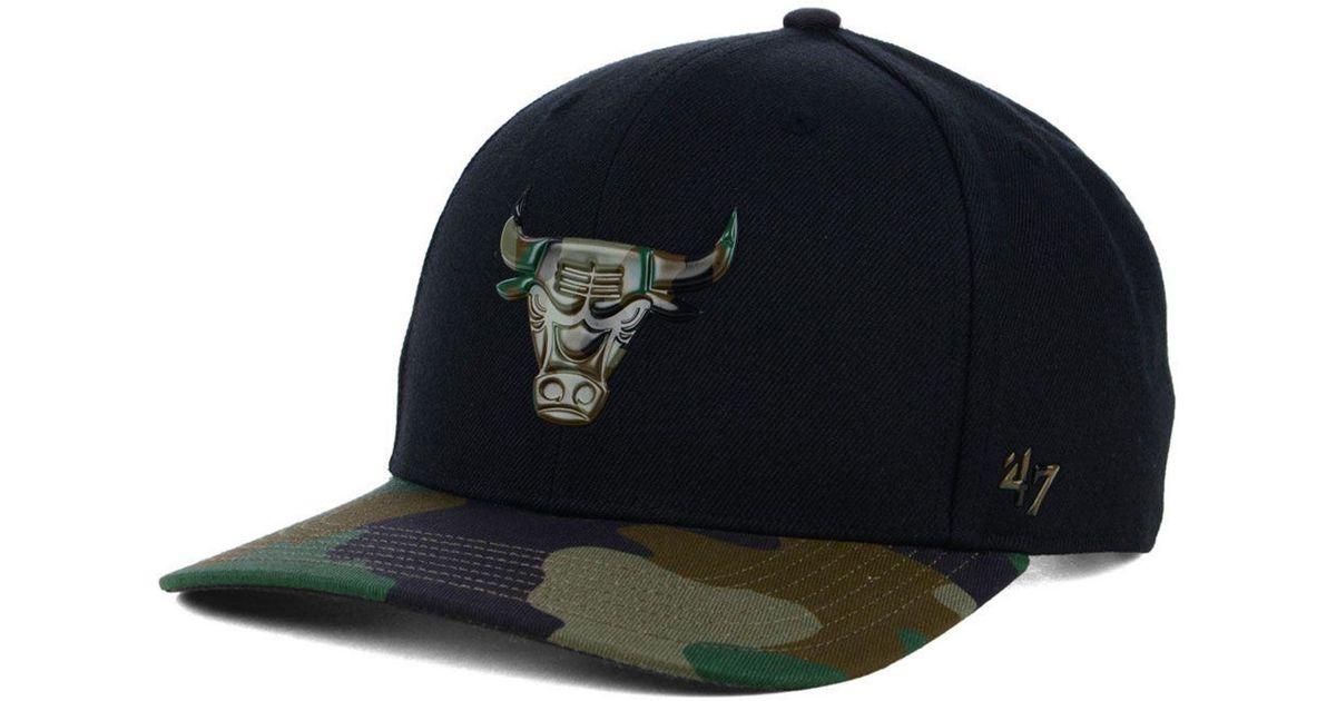 best website 47fc2 2bd30 47 Brand Chicago Bulls Caster Camo Mvp Cap in Black for Men - Lyst