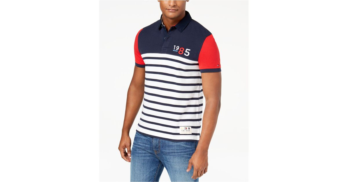 a6a062ac1 Tommy Hilfiger Men's Duckovny Colorblocked Stripe Polo in Blue for Men -  Lyst