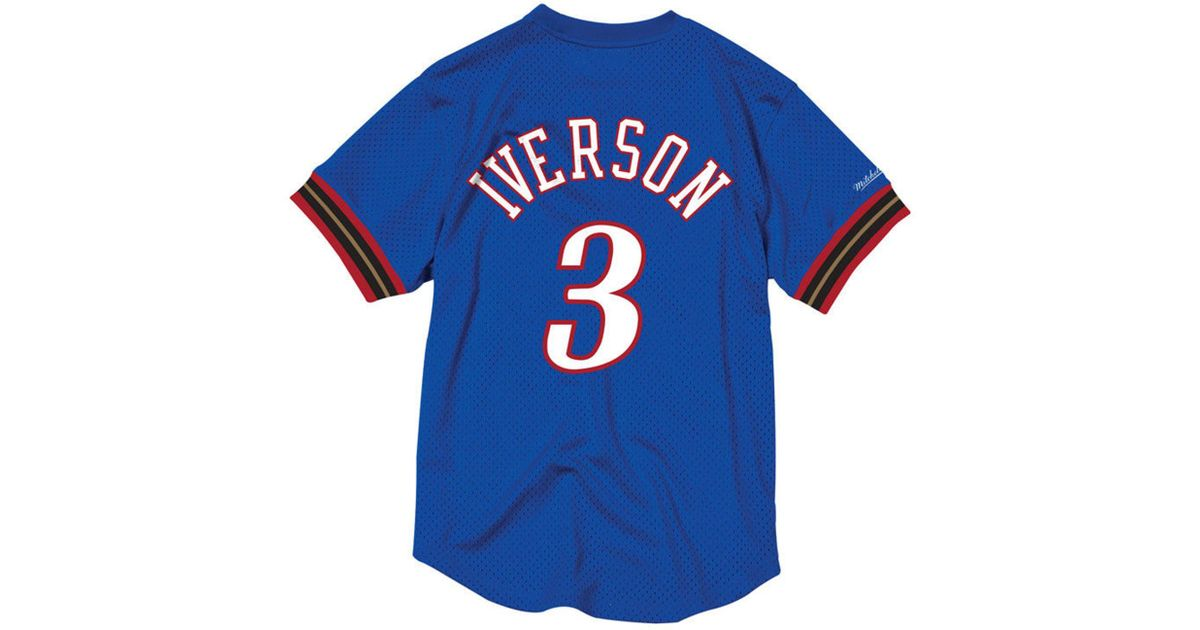 1cde15e7b Mitchell   Ness Allen Iverson Philadelphia 76ers Name And Number Mesh  Crewneck Jersey in Blue for Men - Lyst