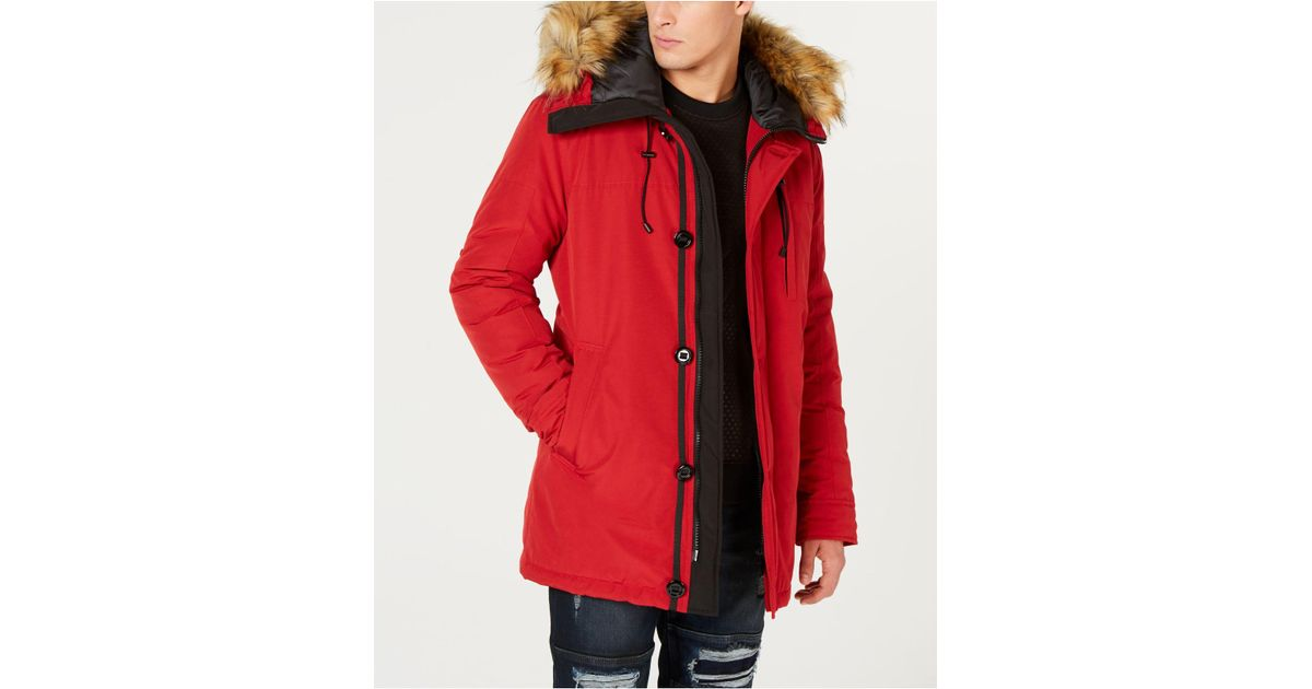 8e51b6220408 Lyst - Guess Hooded Parka With Removable Faux-fur Trim in Red for Men