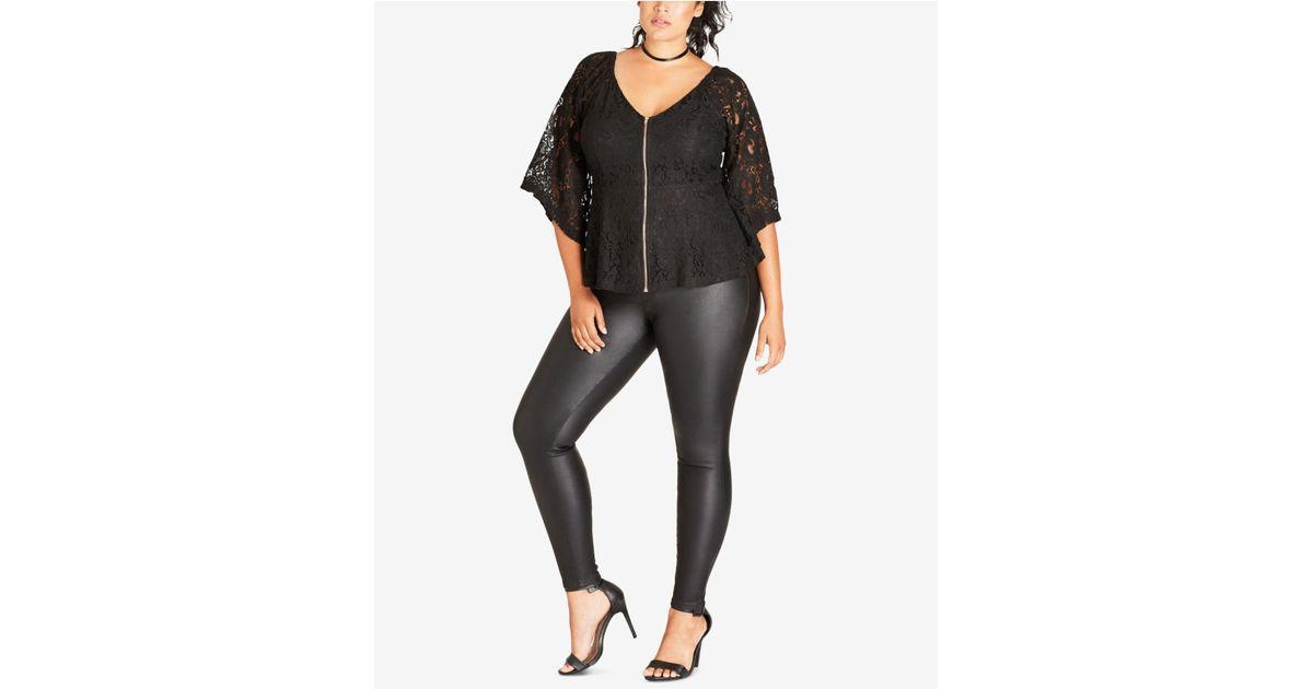 2ce8da5d78528 Lyst - City Chic Trendy Plus Size Lace Peplum Top in Black