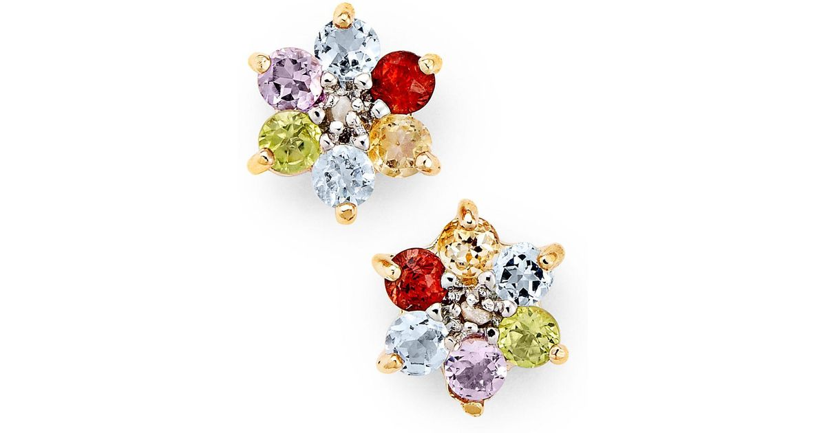 21fa83932 Lyst - Macy's Victoria Townsend 18k Gold Over Sterling Silver Earrings,  Multi Stone (1-1/3 Ct. T.w.) And Diamond Accent Flower Stud Earrings