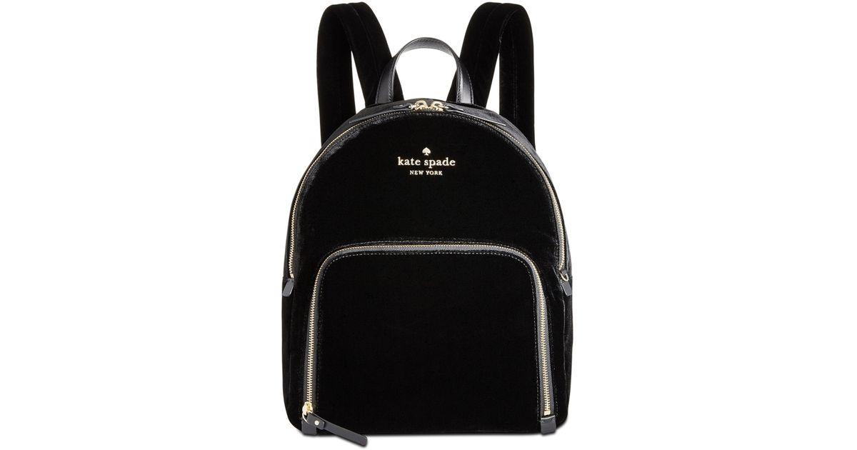 8efe0ec39c Kate Spade - Black Watson Lane Velvet Hartley Small Backpack - Lyst