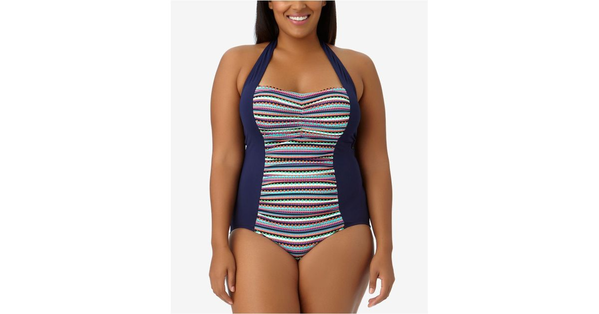 2dc4ba3ef59 Lyst - Anne Cole Plus Size Friendship Bracelet Halter One-piece Swimsuit