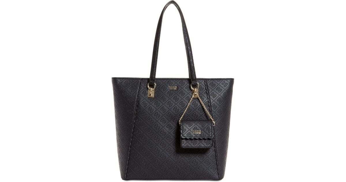 84046ee8812b8f Guess Rayna Signature Tote in Black - Lyst