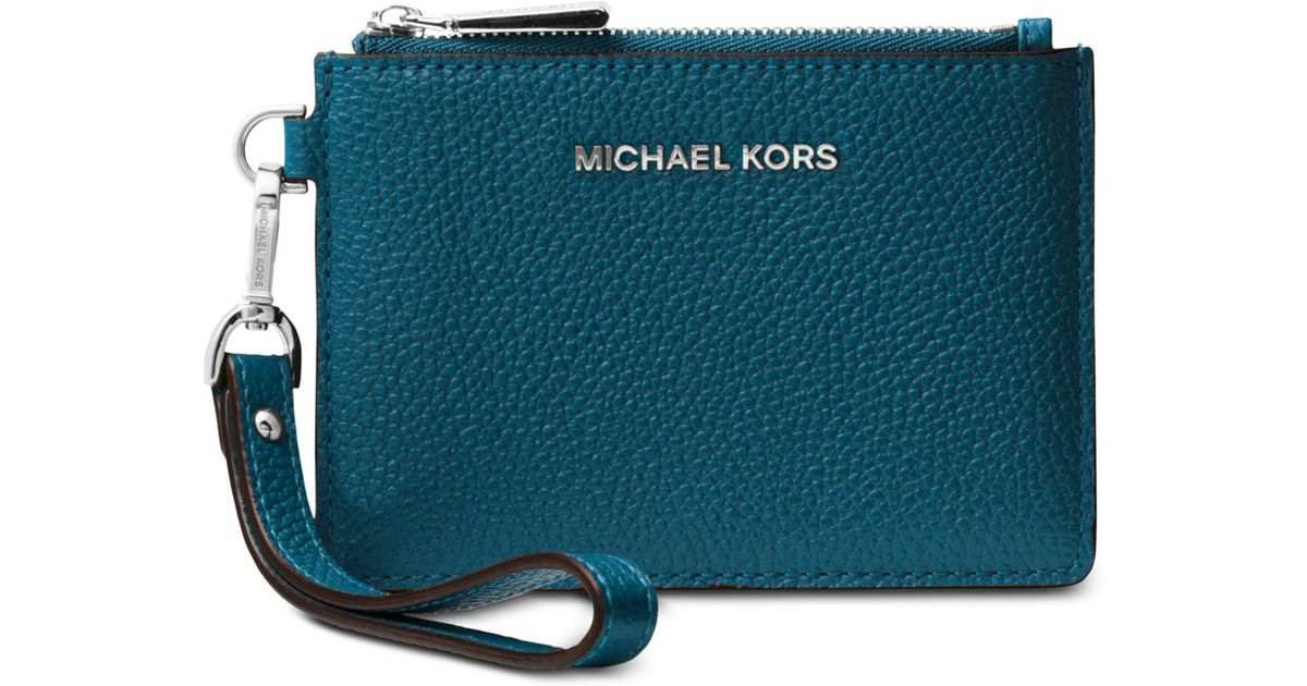 22a183f41760 Michael Kors Michael Mercer Pebble Leather Coin Purse in Blue - Lyst